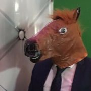 Man with Horse head in Photo Booth